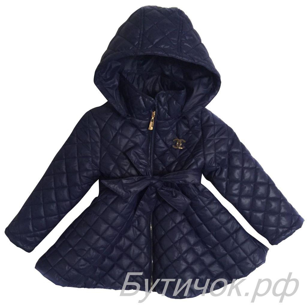 f76a39e40953 Демисезонные пальто для девочек - М.1628 Пальто Chanel темно-синее