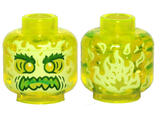 Minifigure, Head Alien Ghost with Yellowish Green Face, Bushy Eyebrows, Angry and Flames in Back Pattern - Hollow Stud, Trans-Neon Green (3626cpb2449 / 6273602)