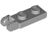 Hinge Plate 1 x 2 Locking with 2 Fingers on End with Bottom Groove, Light Bluish Gray (44302a / 4211804)