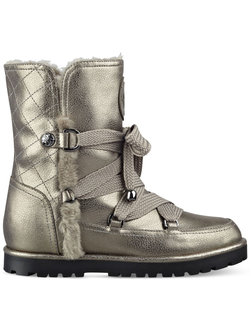 сапоги Guess - FALLON FAUX-FUR SNOW BOOTIES - Silver
