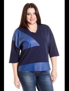 Блуза комбинированная 487-Lux (синий). Размерный ряд: 54-66