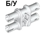 ! Б/У - Technic, Pin Double with Axle Hole, White (32138 / 4118979) - Б/У