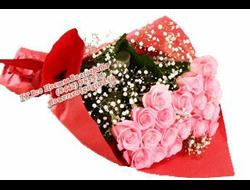15 розовых роз с белой гипсофилой