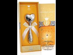 Серебряная погремушка «Сердце с цветами» (Аргента)