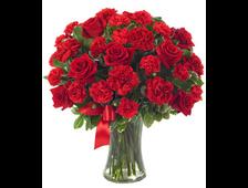 Букет 9 красных роз и 16 красных Гводик Amore