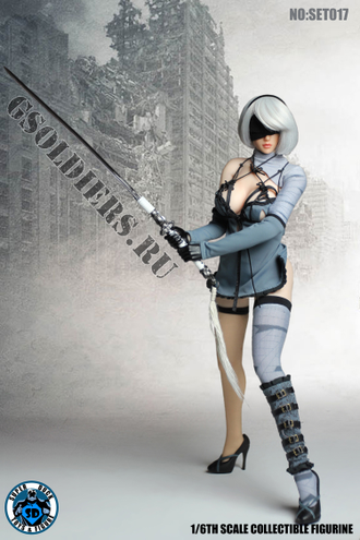 Андроид 2B из игры Nier: Automata КОЛЛЕКЦИОННАЯ ФИГУРКА 1/6 Cosplay (SET017) - SUPER DUCK