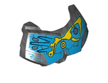 Large Figure Chest Armor Small with Dark Azure and Yellow Pattern  Gali , Pearl Dark Gray (98603pb014 / 6104401)