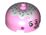 Brick, Round 3 x 3 x 1 1/3 Dome Top - Open Stud with Smile, Eyes with Pupils, Pink Cheeks and Topping Pattern, Bright Pink (49308pb001 / 6261716)