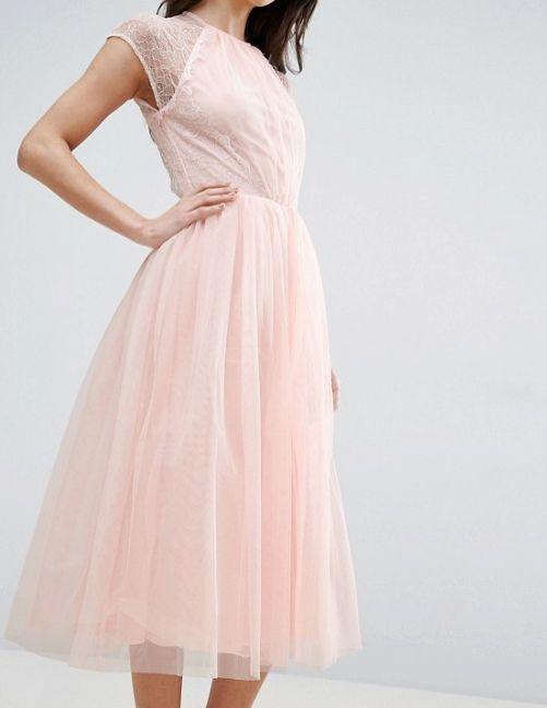 8b7fcb1ee544fdd Светло-розовое коктейльное платье с пышной юбкой - прокат платьев ...