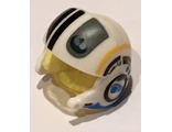 Minifig, Headgear Helmet SW Rebel Pilot Raised Front and Microphone with Trans-Yellow Visor with Black and Yellow Stripes and Black Rebel Logo Pattern, White (21566c01pb04 / 6153587)