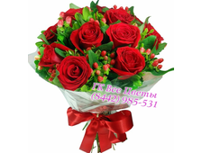 Букет Пламя чувств 7 красных роз