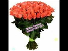 33 розы коралловой букет Шелк