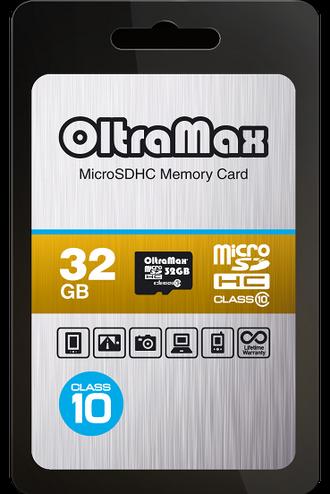 Карта памяти OltraMax 32GB microSDHC Class10 без адаптера SD
