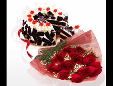 11 красных роз букет и шоколадный торт
