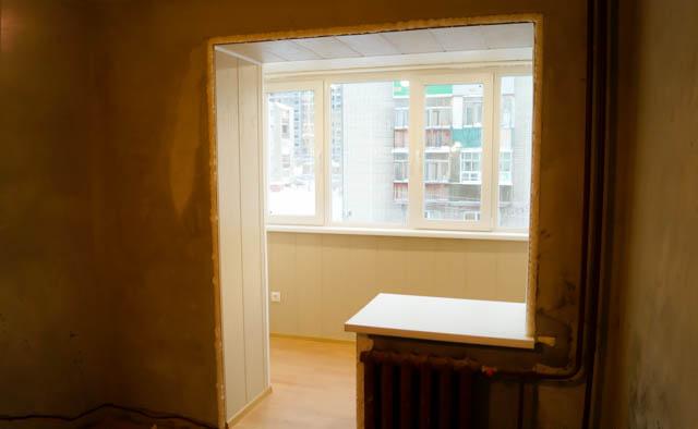 Совмещение лоджии с комнатой, объединение балкона с комнатой.