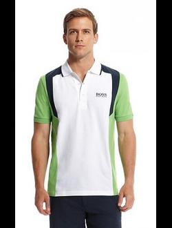 Поло Boss Green, цвет белый с салатовыми рукавами