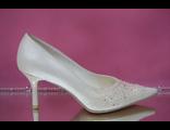 Свадебные туфли айвори средний каблук острый мыс классические украшены вышивкой стразами серебро  № VX