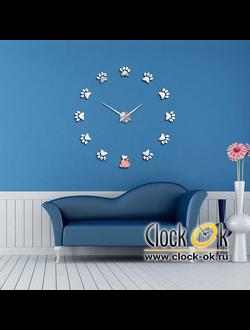 Настенные 3D часы Кошачьи лапки S