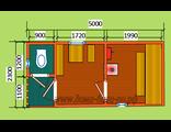"""Схема готовой  бани - размером 5 х 2,3 метра с крыльцом и туалетом. Печь """"Ермак"""" труба в крышу"""