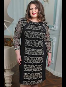 Кружевное платье Синтия-черный