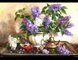 Сирень в белой вазе, худ. Владимир Жданов