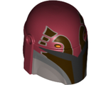 Minifig, Headgear Helmet with Holes, SW Mandalorian with Dark Brown Facial Details Pattern, Dark Red (87610pb08 / 6115457)