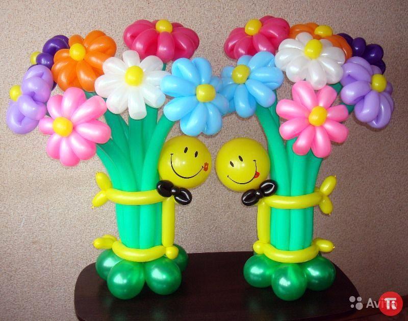 Цветы в вазе из шаров своими руками 70