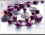 Украшения из варисцита. Колье и серьги. Украшения из натуральных камней купить. Фиолетовые камни.