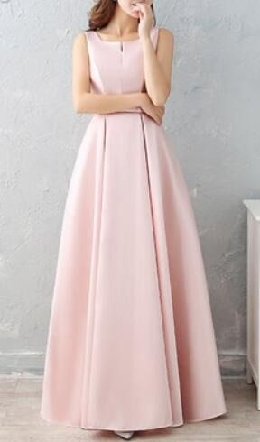3e7d625efaf Длинное розовое вечернее платье А-силуэта из атласа на свадьбу подружкам  невесты