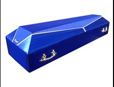 Гроб деревянный с тканевой отделкой Луч-4 синий