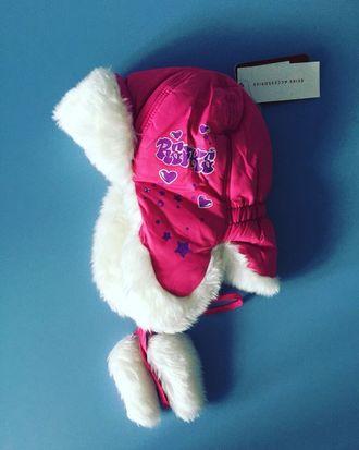 Теплая зимняя шапка-ушанка Reike цвет Pink Stars
