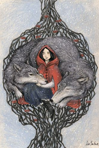 Girl and wolves