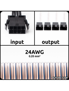 Переходник 1x8pin CPU >> 4x4pin FAN 24AWG, длина 30-120 см