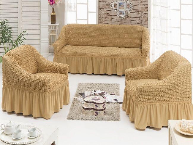 набор чехлов на диван и 2 кресла на резинке универсальный