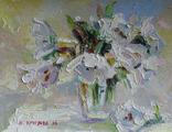 "Круглова Ирина ""Белые тюльпаны"", картон / масло, 18 х 22 см., 2016 г."