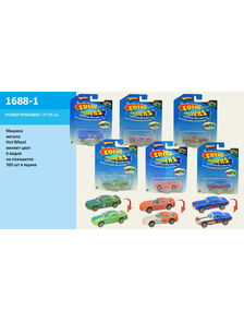 Машина металл 1688-1 (360шт/2) типа Hot Wheels, изменяющ.цвет, 6 видов, на планш, 12*15 см