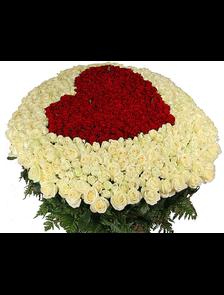 Композиция 301 роза Премиум Сердце
