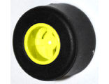 Wheel  8mm D. x 9mm, Hole Notched for Wheels Holder Pin, Reinforced Back with Black Tire 14mm D. x 9mm Smooth Small Wide Slick  74967 / 30028 , Yellow (74967c01)