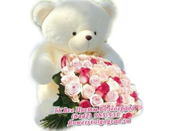 35 роз и большой белый плюшевый мишка
