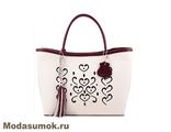 Женская сумка из натуральной кожи L-Craft L 19 бежевая с бордовым