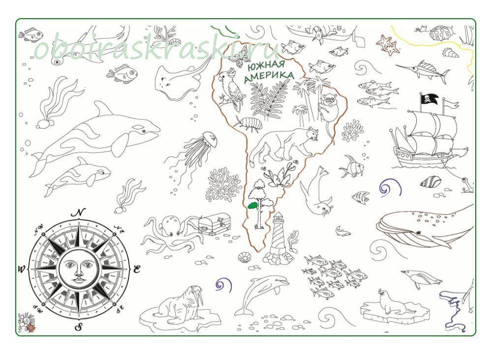 Карта мира животные раскраска для