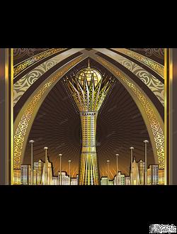 «Астана-Байтерек»   векторный шаблон, иллюстрация фасада здания.