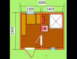 Готовая баня Тип- 3ДЕ  размер 2,3 х 3 м