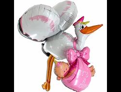 """Фольгированный шар 3D """"Аист принес девочку"""" (160см)"""