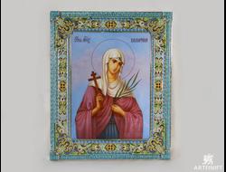 Икона святой мученицы Валентины. Заказать икону. Ростовская финифть.