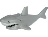 Shark with Gills, White Mouth, Stomach and Black Round Eyes Pattern, Light Bluish Gray (62605pb03c01)