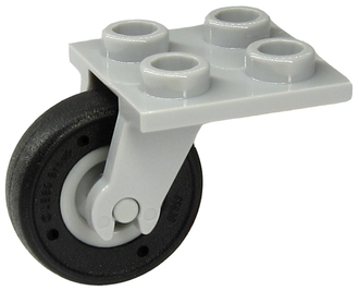 Plate, Modified 2 x 2 Thin with Plane Single Wheel Holder and Light Bluish Gray Wheel with Fixed Black Tire  2415 / 65630c01 , Light Bluish Gray (2415c08)