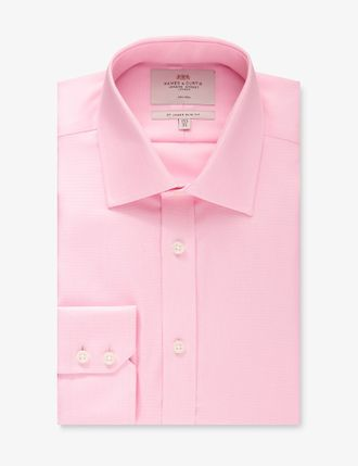 Рубашка Hawes & Curtis Men's Formal Pink Slim Fit Shirt - Single Cuff - Non Iron