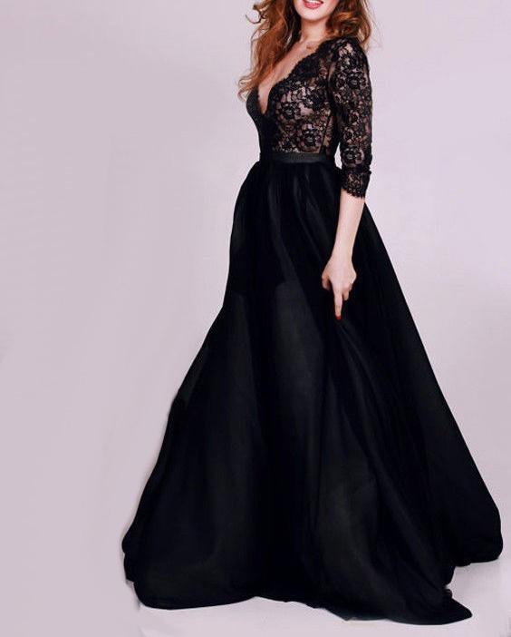 78f9fb43ddb Пышное бальное платье черного цвета с рукавами 3 4 из гипюра и ...