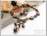 Комплект украшений. Колье и серьги из леопардового тигрового агата. Украшения из натуральных камней.